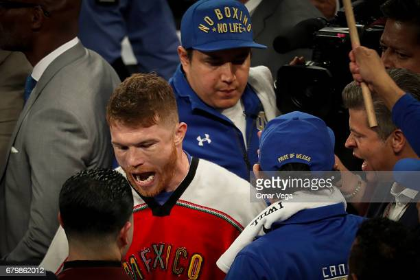 Canelo Alvarez gets ready prior his catchweight bout at TMobile Arena on May 6 2017 in Las Vegas Nevada