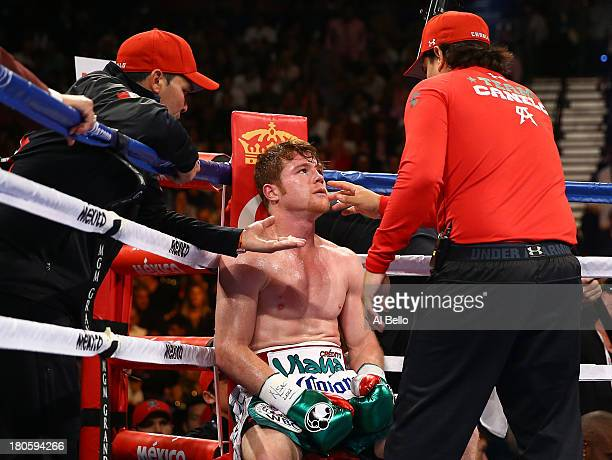 Canelo Alvarez in his corner between rounds against Floyd Mayweather Jr during his WBC/WBA 154pound title fight at the MGM Grand Garden Arena on...