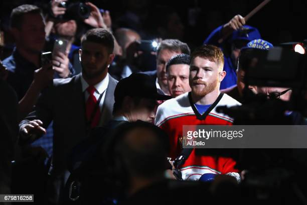 Canelo Alvarez is introduced prior to facing Julio Cesar Chavez Jr during their catchweight bout at TMobile Arena on May 6 2017 in Las Vegas Nevada