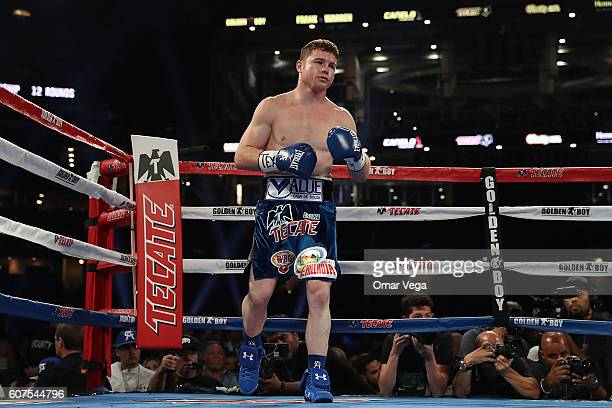 Canelo Alvarez looks on during the Canelo v Smith WBO Middleweight World Championship Fight at ATT Stadium on September 17 2016 in Dallas United...