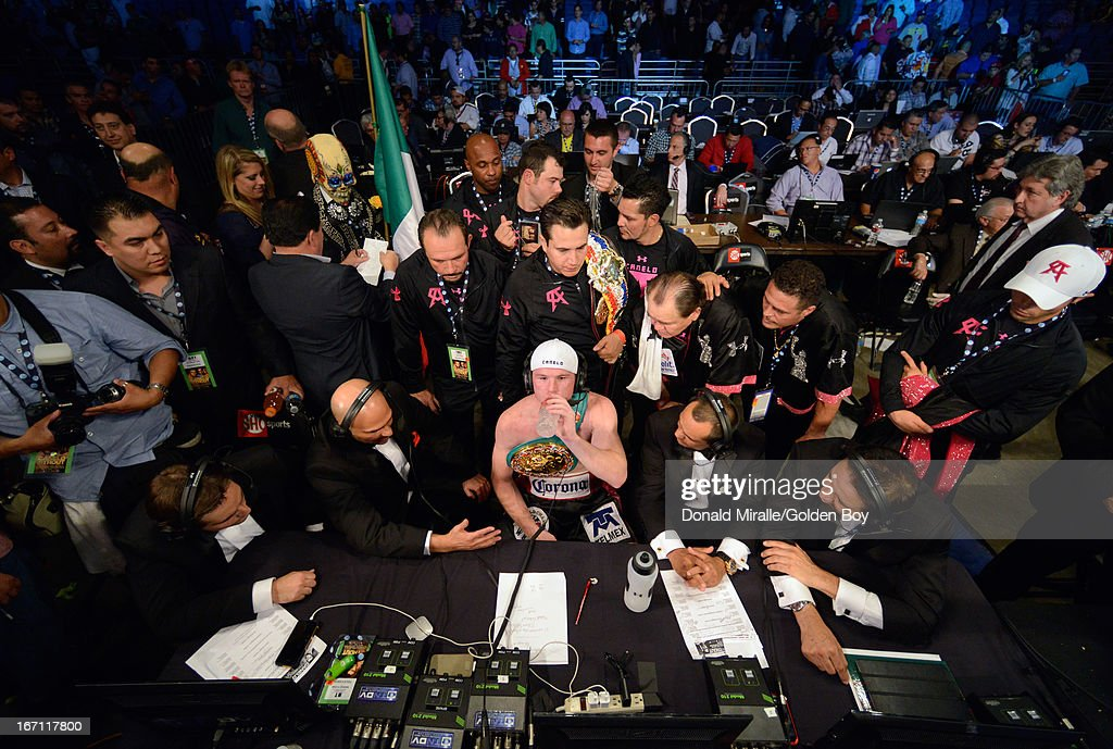 Canelo Alvarez of Mexico speaks to media after his unanimous 12-round decision over Austin Trout during the WBC, WBA, and Vacant Ring Magazine Super Welterweight Title at Alamodome on April 20, 2013 in San Antonio, Texas.