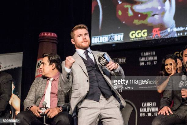 Canelo Alvarez poses during the Canelo Alvarez vs Gennady Golovkin press conference at Madsion Square Garden June 20 2017 in New York City