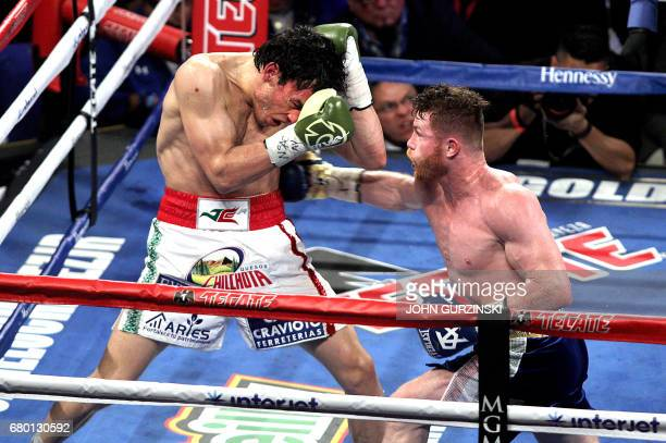 Canelo Alvarez slams a right against Julio Cesar Chavez Jr on May 6 2017 at the TMobile Arena in Las Vegas Nevada Saul 'Canelo' Alvarez cruised to a...