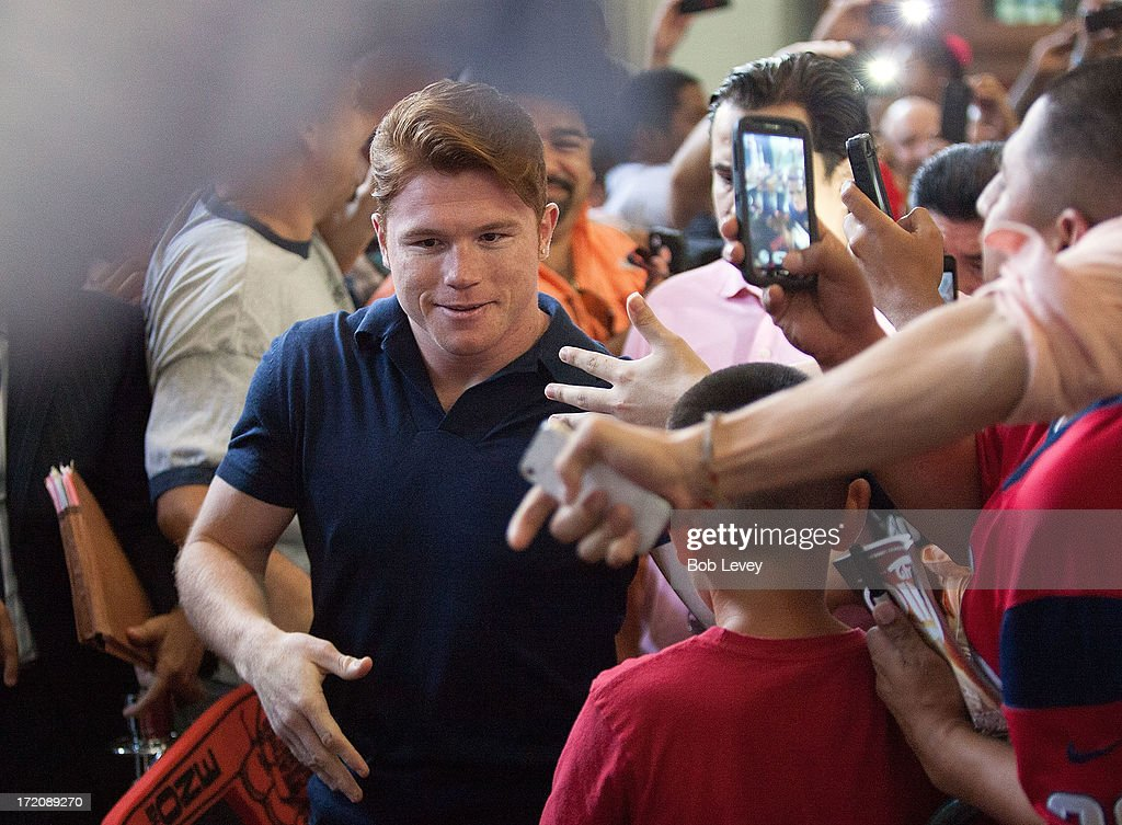 Canelo Alvarez speaks during a press conference to discuss his Super Welterweight World Championship fight with Floyd Mayweather July 1, 2013 at Union Station at Minute Maid Park in Houston, Texas. Floyd Mayweather and Canelo Alvarez are scheduled to fight September 14 at the MGM Grand Garden Arena in Las Vegas, Nevada.