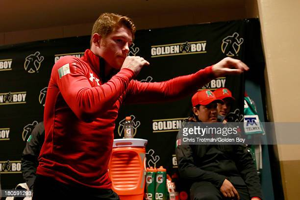 Canelo Alvarez stretches in his locker room before taking on Floyd Mayweather Jr in their WBC/WBA 154pound title fight at the MGM Grand Garden Arena...