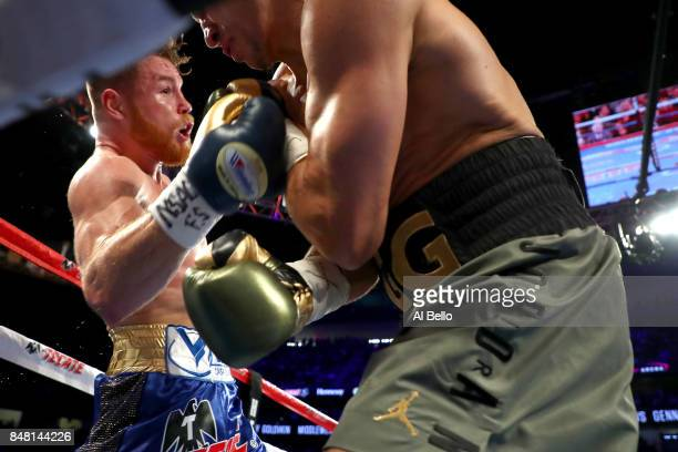 Canelo Alvarez throws a punch at Gennady Golovkin during their WBC WBA and IBF middleweight championship bout at TMobile Arena on September 16 2017...