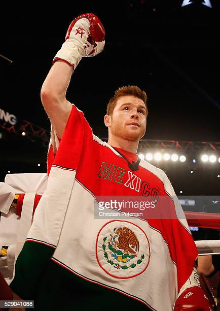 Canelo Alvarez walks to the ring during the WBC middleweight title fight at TMobile Arena on May 7 2016 in Las Vegas Nevada