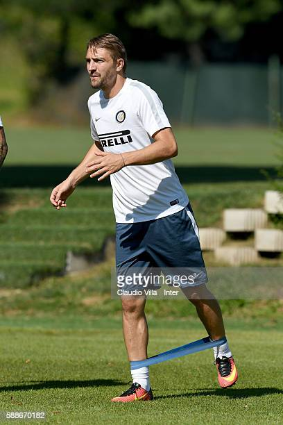 Caner Erkin in action during the FC Internazionale training session at the club's training ground at Appiano Gentile on August 12 2016 in Como Italy