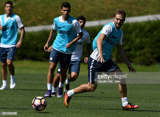 Caner Erkin in action during the FC Internazionale training session at the club's training ground at Appiano Gentile on August 17 2016 in Como Italy
