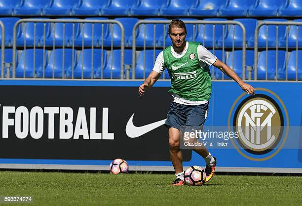 Caner Erkin in action during the FC Internazionale training session at the club's training ground at Appiano Gentile on August 22 2016 in Como Italy