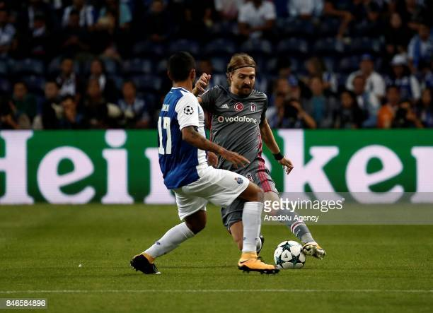 Caner Erkin of Besiktas in action against Jesus Corona of Porto during the UEFA Champions League Group G match between Porto and Besiktas at Dragon...