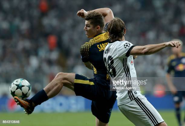 Caner Erkin of Besiktas in action against Marcel Sabitzer of Leipzig during a UEFA Champions League Group G match between Besiktas and Leipzig at...