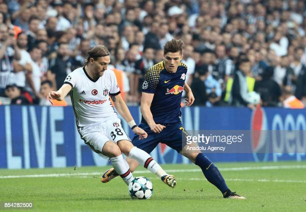 Caner Erkin of Besiktas in action against Marcel Sabitzer of Lepzig during a UEFA Champions League Group G match between Besiktas and Leipzig at...
