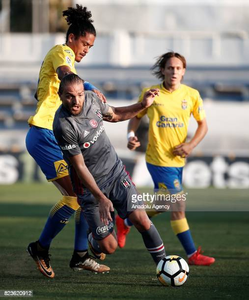Caner Erkin of Besiktas in action against Mauricio Lemos during a friendly match between Besiktas and Las Palmas as part of their training session in...