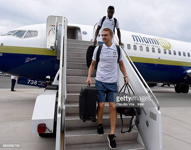 Caner Erkin of FC Internazionale arrives to Charlotte Airport on July 30 2016 in Charlotte North Carolina