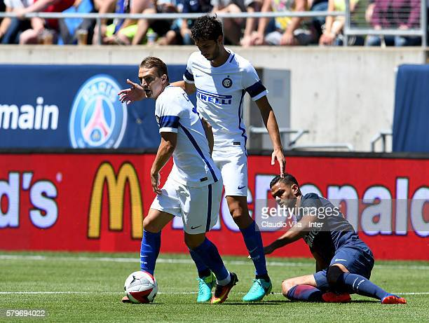 Caner Erkin of FC Internazionale in action during the International Champions Cup 2016 match between FC Internazionale and Paris SaintGermain at...
