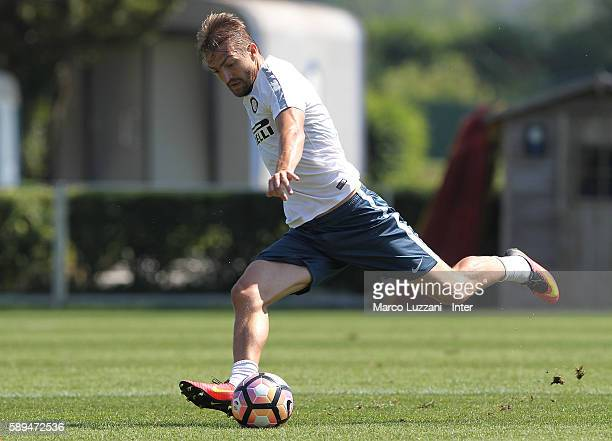 Caner Erkin of FC Internazionale Milano in action during the FC Internazionale training session at the club's training ground 'La Pinetina' on August...