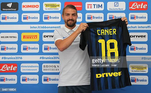 Caner Erkin of FC Internazionale Milano new signing for FC Internazionale Milano poses with the club shirt during day Six of the FC Internazionale...