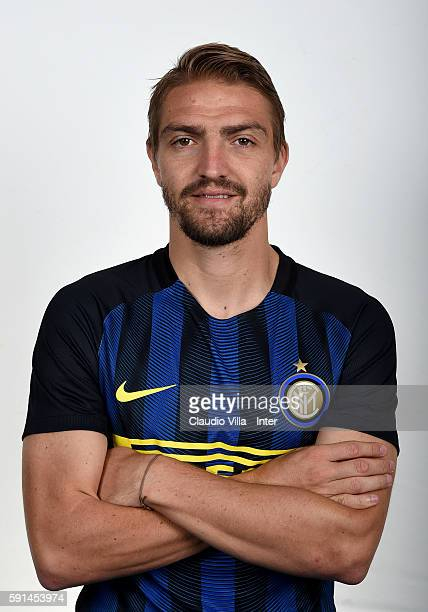 Caner Erkin of FC Internazionale poses during the official portrait session at Appiano Gentile on August 16 2016 in Como Italy