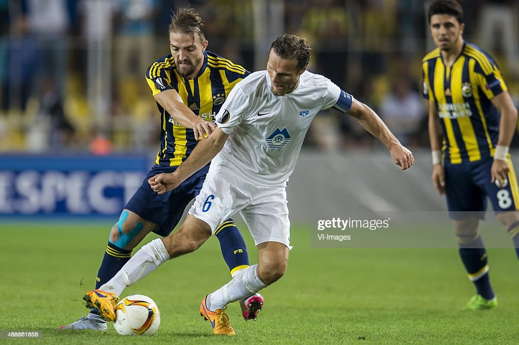 Caner Erkin of Fenerbahce Daniel Hestad of Molde FK during the UEFA Europa League match between Fenerbahce SK v Molde FK on September 17 2015 at the...