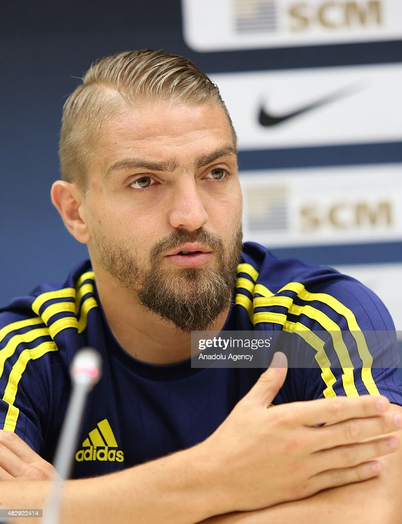 <a gi-track='captionPersonalityLinkClicked' href=/galleries/search?phrase=Caner+Erkin&family=editorial&specificpeople=5127933 ng-click='$event.stopPropagation()'>Caner Erkin</a> of Fenerbahce holds a press conference at Lviv Arena in Ukraine on August 4, 2015 ahead of the UEFA Champions League third qualifying round match between Fenerbahce and Shakhtar Donetsk.