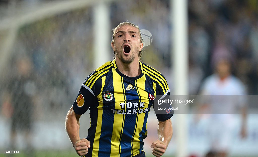 <a gi-track='captionPersonalityLinkClicked' href=/galleries/search?phrase=Caner+Erkin&family=editorial&specificpeople=5127933 ng-click='$event.stopPropagation()'>Caner Erkin</a> of Fenerbahce SK celebrates his goal during the UEFA Europa League group stage match between Fenerbahce SK and Olympique de Marseille on September 20, 2012 at Sukru Saracoglu in Istanbul, Turkey.