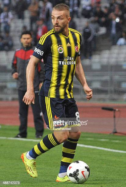 Caner Erkin of Fenerbahce SK in action during the Turkish Super League match between Besiktas and Fenerbahce at the Ataturk Olympic Stadium on April...