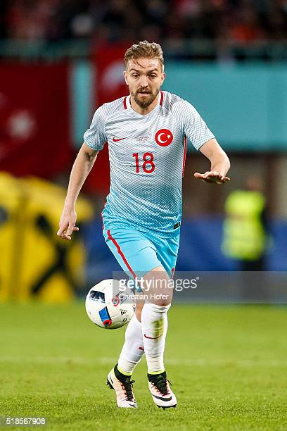 Caner Erkin of Turkey controls the ball during the international friendly match between Austria and Turkey at ErnstHappelStadium on March 29 2016 in...