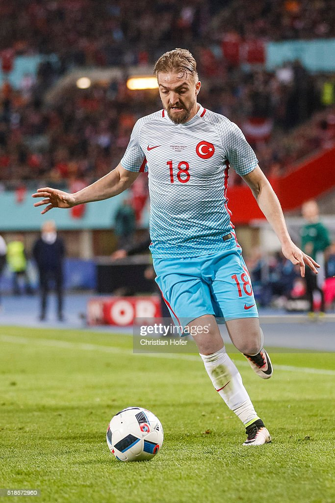 <a gi-track='captionPersonalityLinkClicked' href=/galleries/search?phrase=Caner+Erkin&family=editorial&specificpeople=5127933 ng-click='$event.stopPropagation()'>Caner Erkin</a> of Turkey controls the ball during the international friendly match between Austria and Turkey at Ernst-Happel-Stadium on March 29, 2016 in Vienna, Austria.