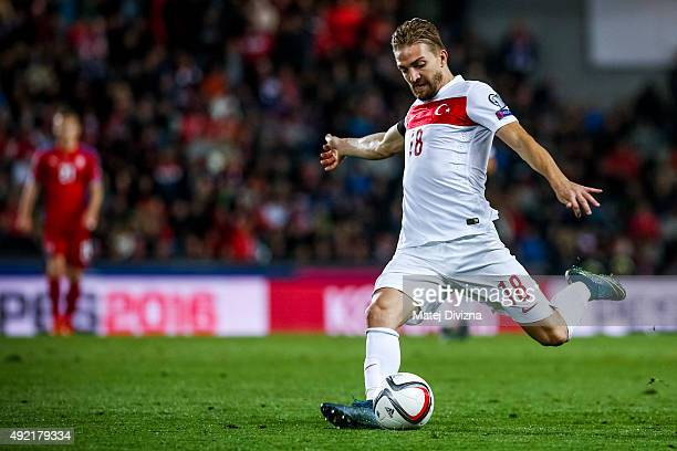 Caner Erkin of Turkey in action during the UEFA EURO 2016 Group A Qualifier match between Czech Republic and Turkey at Letna Stadium on October 10...