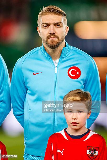 Caner Erkin of Turkey lines up during the national anthem prior to prior to the international friendly match between Austria and Turkey at...