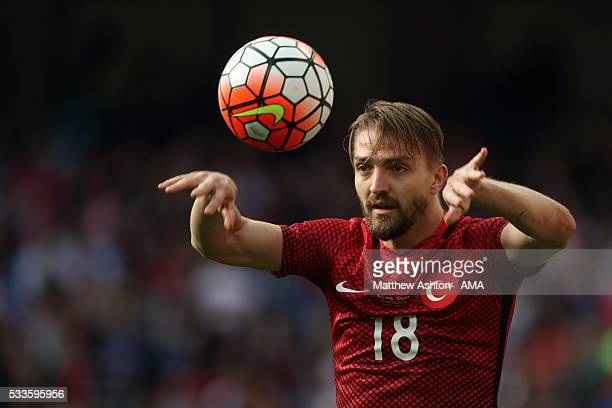 Caner Erkin of Turkey takes a throw in during the International Friendly match between England and Turkey at Etihad Stadium on May 22 2016 in...