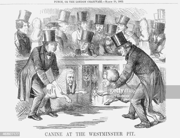 'Canine at the Westminster Pit' 1862 Pit Bull terriers are set in a pit at Westminster The one on the right is Derby the dog of Lord Derby the...