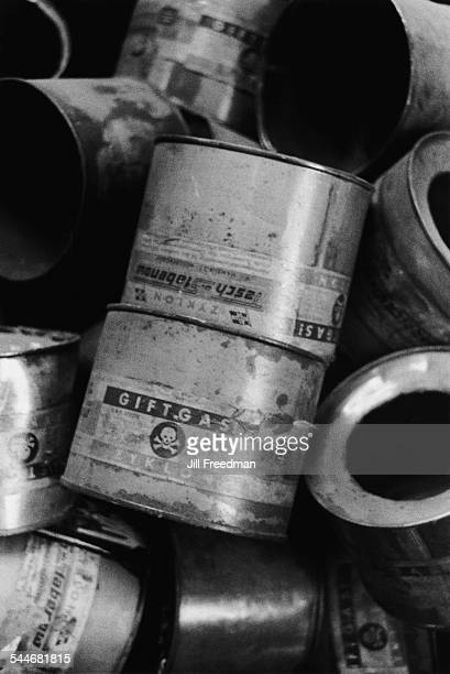 Canisters of the cyanidebased pesticide Zyklon B at the museum at the Auschwitz former Nazi concentration camp in Poland 1993 The gas was used by...