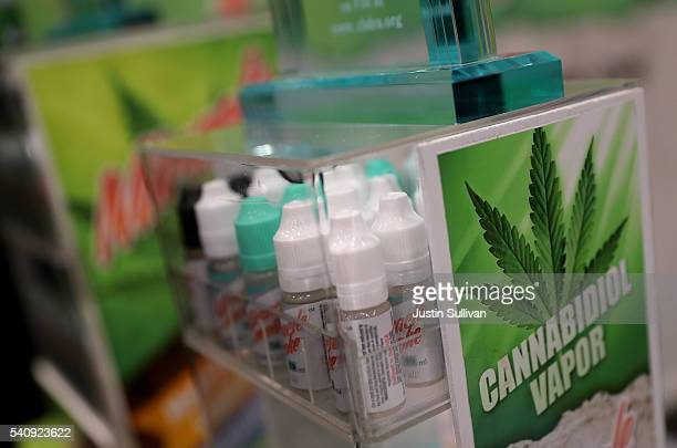 Cannabidiol vapor products are displayed during the Cannabis World Congress Business Expo at the Jacob Javits Center on June 17 2016 in New York City...