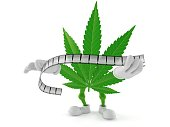 Cannabis character holding film strip isolated on white background. 3d illustration