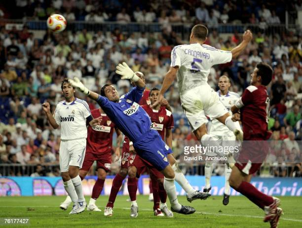 Cannavaro of Real Madrid scores a goal during the Spanish Supercopa between Real Madrid and Sevilla at the Santiago Bernabeu stadium on August 19...