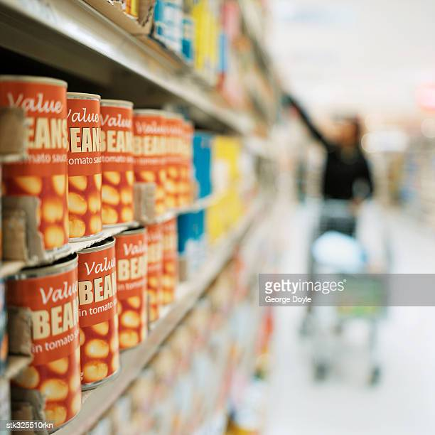 canned food in a supermarket