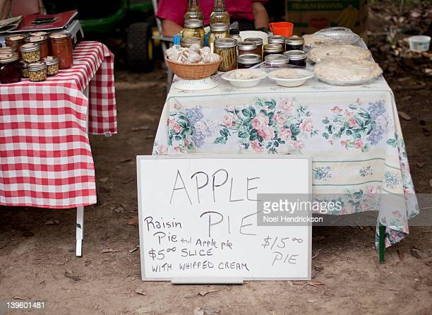 Canned goods and pies for sale at farmer's market