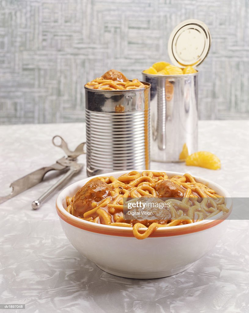 Canned Spaghetti and Meatballs and Canned Tangerines : Stock Photo