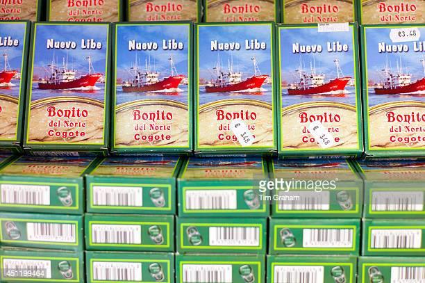 Canned tuna fish Pescados Nuevo Libe in shop in Calle Santander in Santona Cantabria Northern Spain