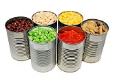 An isolated image of canned mushrooms, peas and corn
