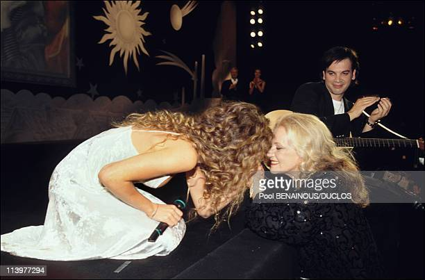 Cannes 95 Opening Gala ** EMBARGO N° 24** in Cannes France on May 17 1995Vanessa Paradis and Jeanne Moreau
