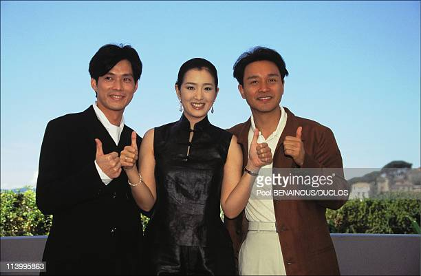 Cannes 96 PhotoCall 'Temptress Moon' In Cannes France On May 1996Kevin Li Gong Li Leslie Cheung