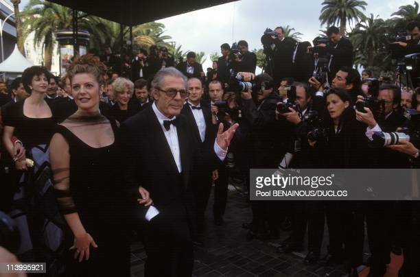 Cannes 96 Strairs Of 'Trois Vies Et Une Seule Mort' In Cannes France On May 19 1996Chiarra and Marcello Mastroianni