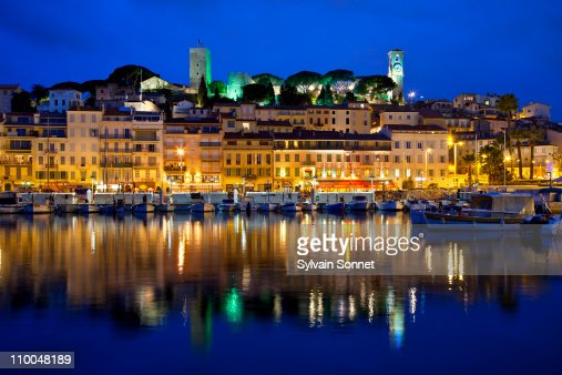 cannes at night france stock photo getty images. Black Bedroom Furniture Sets. Home Design Ideas