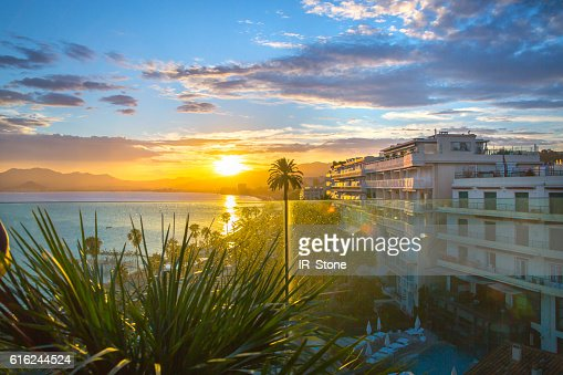 Cannes at sunset. France : Foto de stock