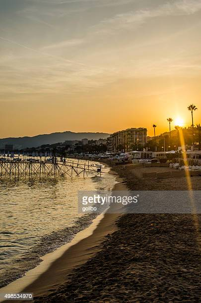 Cannes beach at sunset