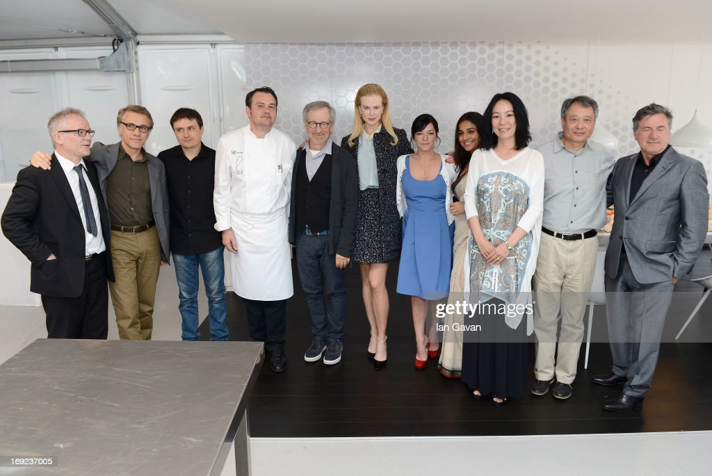 Cannes festival director Thierry Fremaux, Christoph Waltz, Cristian Mungiu, Steven Spielberg, Nicole Kidman, Lynne Ramsay, Vidya Balan, Naomi Kawase, Ang Lee and Daniel Auteuil of the Grand Jury pose with Electrolux partner chef Bruno Oger at Chef's Table by Electrolux with Bruno Oger at Electrolux Agora Pavilion on May 22, 2013 in Cannes, France.