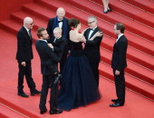 Cannes festival's general delegate Thierry Fremaux President of the Cannes International Film Festival Gilles Jacob director Jacques Audiard Marion...